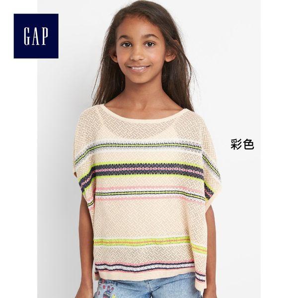 Gap女童 時尚條紋寬鬆蝙蝠袖套頭針織衫 260289-彩色
