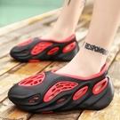 海灘鞋 防滑厚底洞洞鞋新款夏季韓版潮流男涼鞋豆豆鞋鳥巢青年透氣沙灘鞋