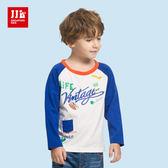 JJLKIDS 男童 美式潮流拼接純棉上衣(白色)