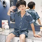 兒童睡衣夏季薄款冰絲短袖套裝寶寶小孩中大童夏款女童男童家居服 美眉新品