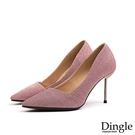 Dingle丁果ღ 韓版百搭尖頭亮片布高跟鞋(三色34-40)