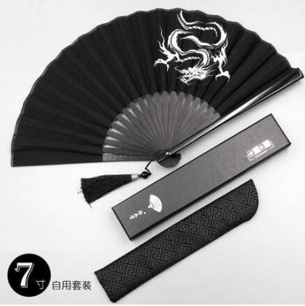8寸中國風男生霸氣龍折扇古風流蘇隨身便攜折疊小扇女漢服扇子夏 怦然新品