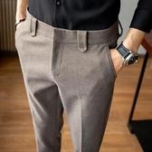 西裝褲 毛呢西褲男冬季韓版修身男士商務休閒褲加厚潮西裝褲小腳呢子褲子-快速出貨