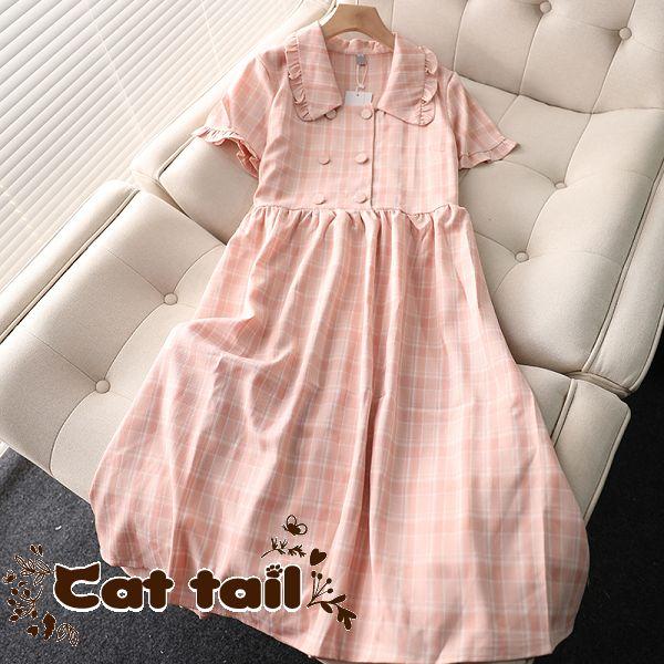 《貓尾巴》MA-0103 甜美風娃娃領寬鬆腰設計感格紋短袖連身裙(森林系 日系 棉麻 文青 清新)