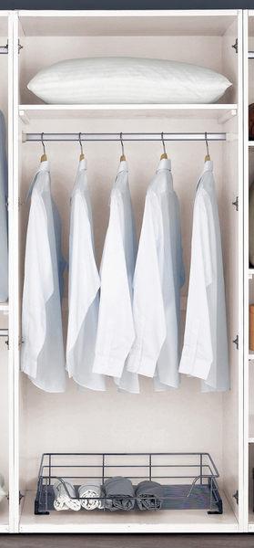 【森可家居】波爾卡2.7尺衣櫥(有籃) 7CM126-3 衣櫃 白色