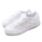 Reebok 休閒鞋 Club C 85 MU 白 全白 炫光後跟設計 網球鞋 皮革鞋面 女鞋 運動鞋【PUMP306】 DV5182