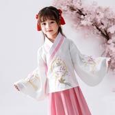 名族風童裝 漢服女童套裝春夏中國風國學服兒童刺繡古裝日常服裝民族風演出服