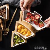 果盤 北歐創意竹木聖誕樹果盤家用餐具托盤陶瓷點心盤水果沙拉盤零食盤  coco衣巷