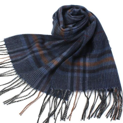 S.T.Dupont 羊駝毛混紗典雅格紋圍巾(藍色系) 989120-7
