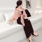 夏季套裝女時尚兩件套2018新款韓版吊帶露背洋裝 防曬衣短外套
