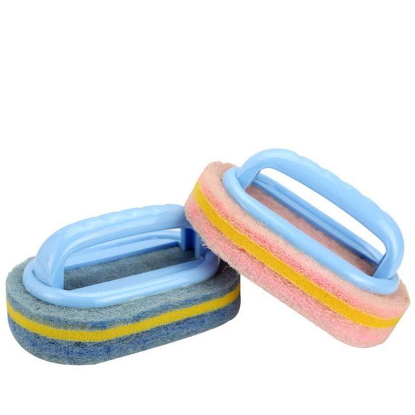 【DF312】浴缸刷SA147 菜瓜布浴室刷 塑料手柄海綿底浴廁刷 纖維風呂刷 清潔刷 清潔刷 EZGO商城