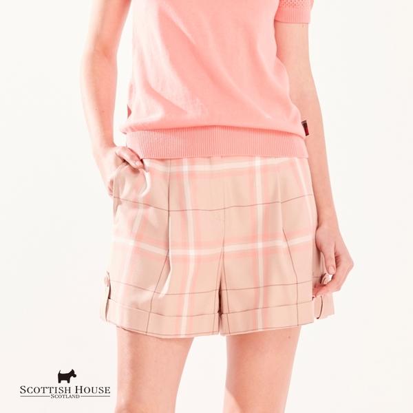 微低腰兩側裝飾釦格紋褲【AG2205】