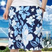 男士沙灘褲純棉寬鬆五分花短褲大