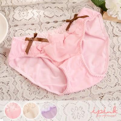 i PINK 雪紡絹絲 獨家蕾絲雪紡紗三角褲(3色/M-XL)