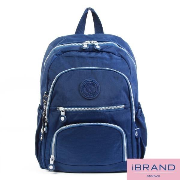 【南紡購物中心】【i Brand】繽紛樂園尼龍多口袋後背包-深海藍 TGT-1368-寶藍
