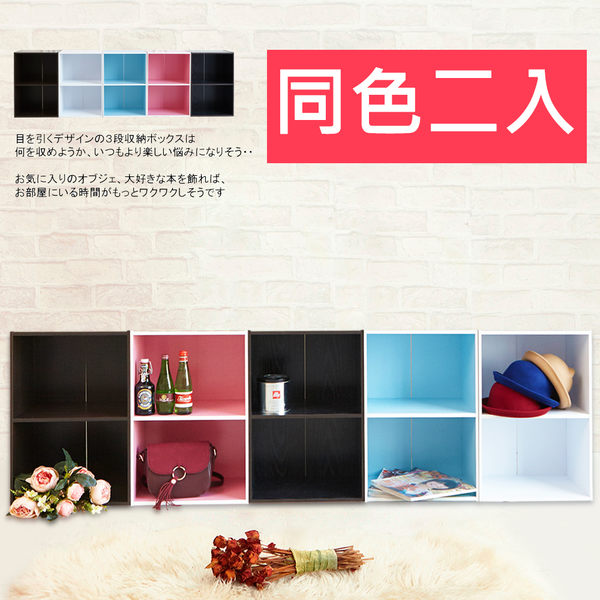 【誠田物集】繽紛組合二層空櫃收納櫃-同色二入 BO076