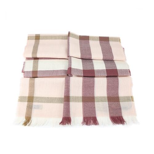 BURBERRY 經典格紋喀什米爾羊毛混紡流蘇圍巾 Chalk Pink(粉彩)