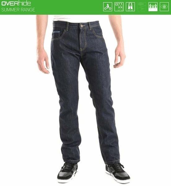 【東門城】OVERLAP MANX RAW 防摔牛仔褲(藍)