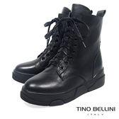 Tino Bellini中性話題舒適全真皮綁帶軍靴_ 黑 A69048