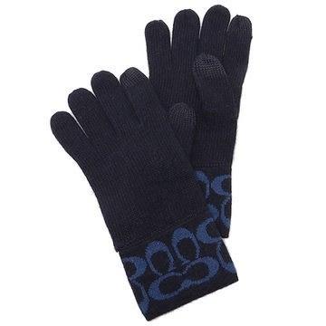 米非客 COACH 86026 經典 C logo設計 手指可觸碰螢幕 混羊毛材質 超保暖 手套(深藍)