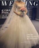 2017韓式新款長拖尾蕾絲一字肩中袖婚紗EY1699『小美日記』