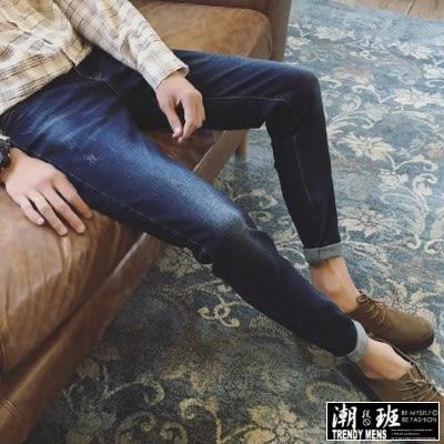 『潮段班』【ML006891】日韓秋冬新款 28-34 經典水洗作舊修身彈性單寧牛仔休閒直筒長褲