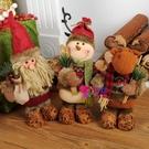 聖誕飾品 圣誕節裝飾用品圣誕樹擺件伸縮老人雪人麋鹿布藝公仔場景櫥窗布置【快速出貨】