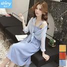 【V2945】shiny藍格子-甜美清新.條紋披肩外套吊帶裙兩件式