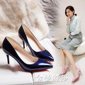 2018秋季新款韓版淺口漆皮單鞋性感細跟尖頭高跟鞋百搭職業鞋女 金曼麗莎