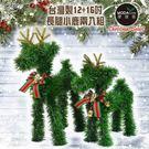 【摩達客 】台灣製可愛長腿12吋+16吋綠色聖誕小鹿擺飾兩入組合
