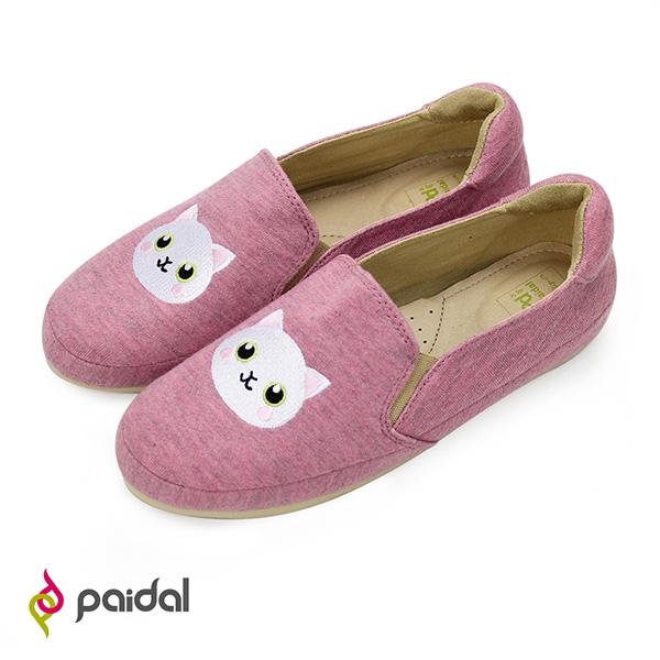Paidal 雪白貓平底懶人鞋樂福鞋休閒鞋-胭脂紅