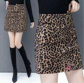 短裙 大碼豹紋半身裙皮裙女新款秋冬高腰時尚絲絨A字短裙包臀裙子