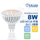 【亮博士LED】LED MR16 8W杯燈 20入組 燈頭GU5.3 免安定器 全電壓(白光/黃光/自然光)
