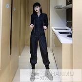 酷酷風格女裝帥氣連身套裝女秋裝網紅寬鬆bf束腳九分工裝連衣褲子 夏季新品