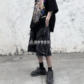 黑衣先生做舊涂漆貓須小眾設計牛仔短褲男寬鬆直筒暗黑風5五分褲 快速出貨