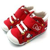 《7+1童鞋》小童 MOONSTAR 日本月星 HELLO KITTY 聯名款 機能鞋 學步鞋 C446 紅色