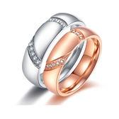【5折超值價】最新款時尚精美愛心鑲鑽造型情侶款鈦鋼戒指