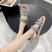 草編涼鞋女2020年夏季新款時尚百搭一字扣學生平底ins羅馬沙灘 KP496『小美日記』