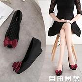 魚嘴涼鞋 夏季梅麗莎果凍鞋2020新款魚嘴坡跟蝴蝶結防水台鬆糕跟透氣涼鞋 自由角落