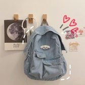 牛仔帆布包 韓版森系文藝古著感書包做舊水洗牛仔帆布學生學院背包後背包女 愛麗絲
