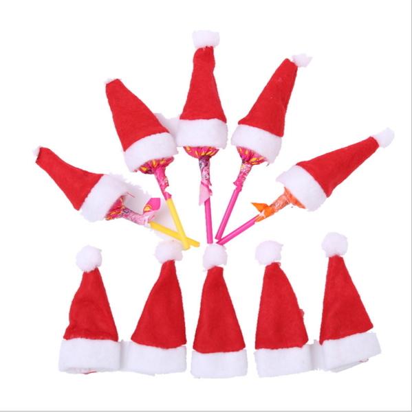 聖誕裝飾品  迷你聖誕帽 聖誕棒棒糖帽聖誕無紡布小帽─預購CH2528