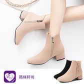 歐美復古個性磨砂拉鍊設計粗跟短靴/2色/35-43碼(RX1060-6-61) iRurus 路絲時尚