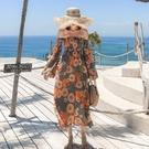 長袖連身裙-一字領露肩印花波西米亞長洋裝74ag13【巴黎精品】