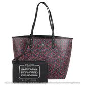 茱麗葉精品【現貨出清】COACH 59441 碎花防刮皮革雙面大購物托特包.黑