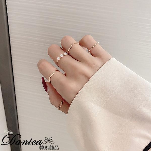 現貨 韓國氣質簡約金屬感幾何麻花波浪珍珠細版五件組開口戒指 S5254 批發價 Danica 韓系飾品