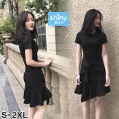 【V2884】shiny藍格子-氣質小香風‧純色腰身荷葉邊短袖連身裙