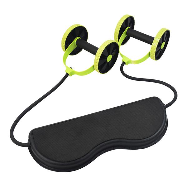 【Healgenart】多功能運動拉力雙輪健腹器 H11104 瘦腿提臀.瑜珈彈力帶.健身塑形 (顏色隨機出貨)