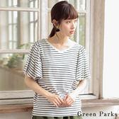 ❖ Hot item ❖ V領喇叭袖條紋/素面T恤上衣 - Green Parks