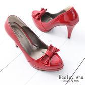 ★零碼出清★Keeley Ann甜美名品~經典蝴蝶結菱格紋漆皮高跟鞋(紅)