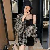 格紋襯衫外套 防曬服 女細肩帶洋裝 辣妹套裝 夏季薄款防曬襯衣 設計感吊帶裙寬鬆上衣
